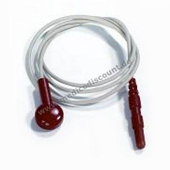Elektrodenkabel mit Druckknopfanschluß, 60cm rot mit Steckbuchse