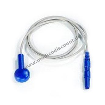 Elektrodenkabel mit Druckknopfanschluß, 60cm blau mit Steckbuchse