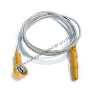Elektrodenkabel mit Druckknopfanschluß, 60cm gelb mit Steckbuchse