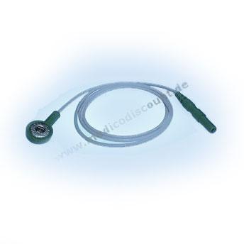 Elektrodenkabel mit Druckknopfanschluß, 60cm grün mit Steckbuchse